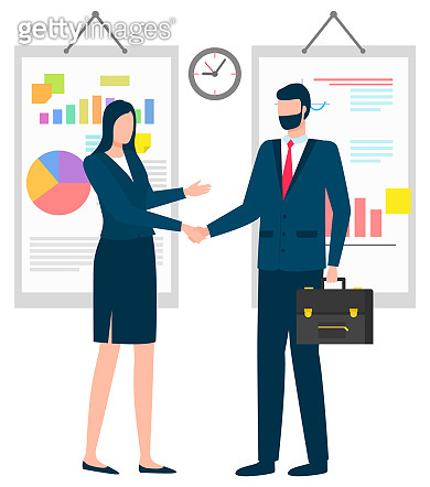 Man and Woman Business Partners Agreement Vector