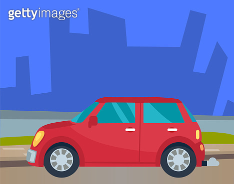 Red Car Riding Down Road in Urban Landscape Vector