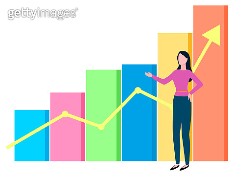 Woman Broker and Growing Diagram Chart with Arrow