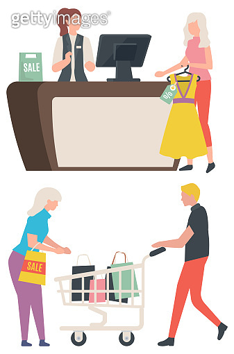 Sale Old Collection, Buy Clothes, Package Vector