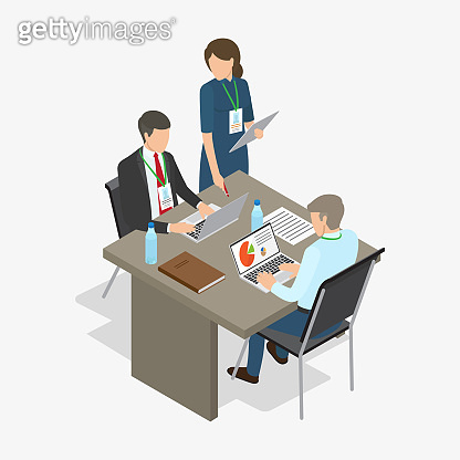 Workers Do Job. Business-themed Illustration.