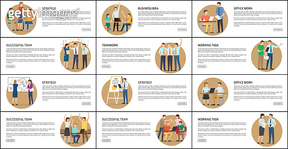 Office Work Strategy Business Vector Illustrations