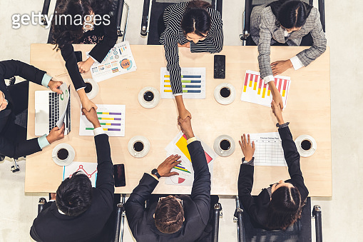 Group business people handshake at meeting table