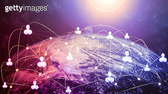 3D illustration global modern creative communication and internet network map