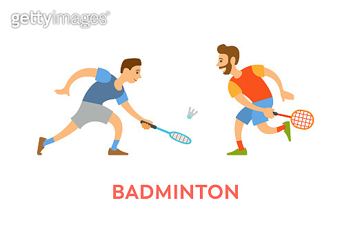 Badminton Players Men with Rackets Playing Game