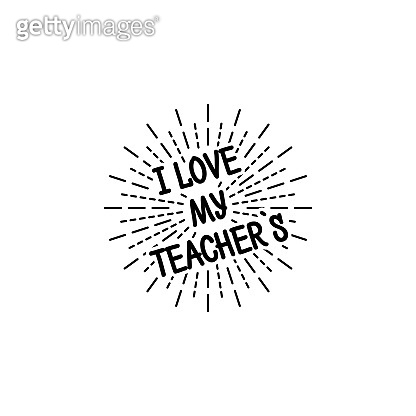 Teachers day with burst. Black colored set. Typography card. Vector isolated illustration