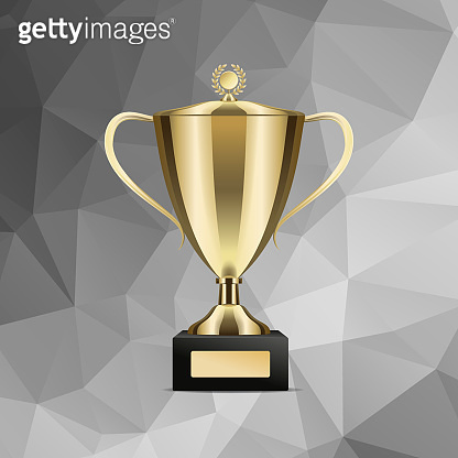 Golden Winning Trophy Cup Isolated Illustration