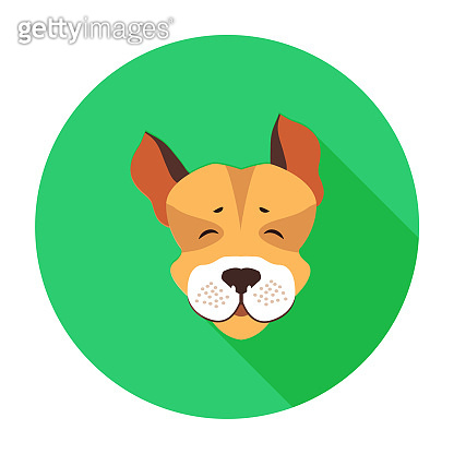 Happy Muzzle of Jack Russell Terrier Flat Icon