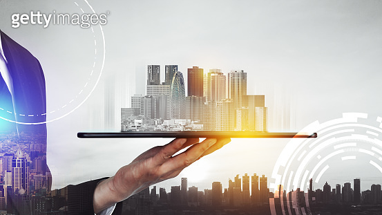 Modern creative telecommunication and internet network connect in smart city.