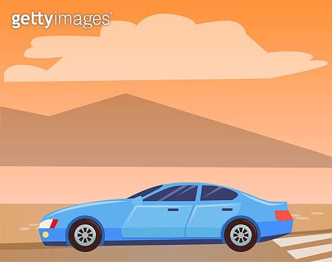 Blue Car Isolated on Nature Background, Sedan