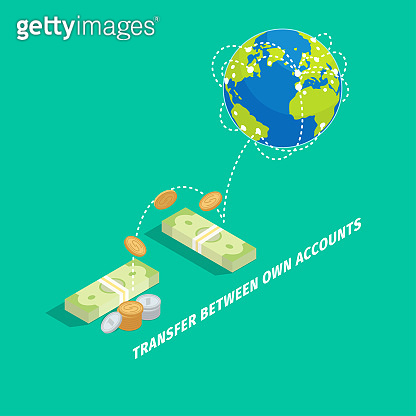 Set of Money Transfer Between Own Accounts Icon