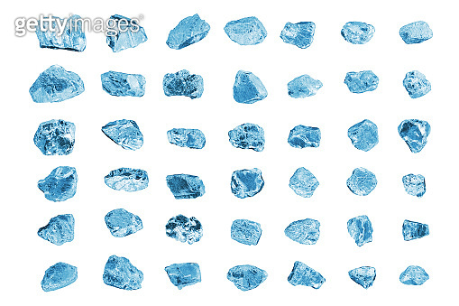 Blue gem stones white background isolated closeup, crushed ice cubes set, rough diamonds collection, raw brilliants texture, natural rocks nuggets, group of crystals, mineral samples, gemstone, jewel