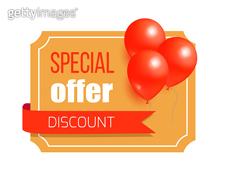 Discount Special Offer Card Design Balloons Label