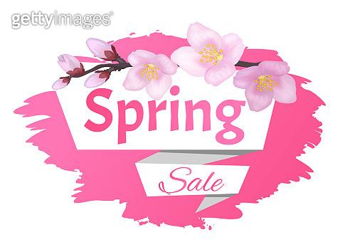 Spring Sale Advertisement Label Branch of Sakura