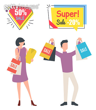 Buyer with Purchase, Super Sale, Shopping Vector
