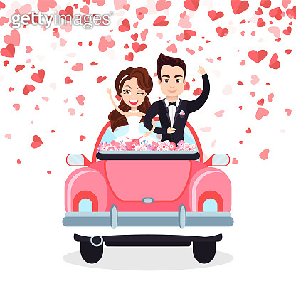 Wedding Card with Hearts, Groom and Bride Vector