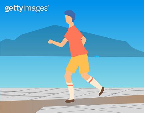 Athlete Character Running Outdoor, Sport Vector