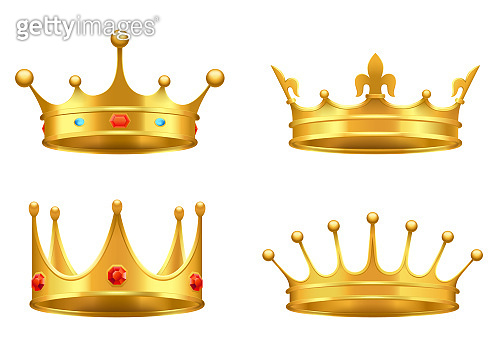 Golden Crown with Gems 3d Icon Realistic Vector
