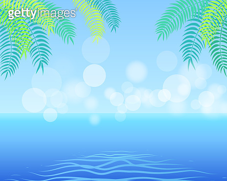 Summer Background with Palm Leaves in the Corner,