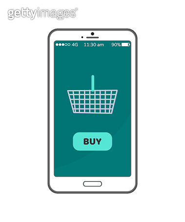 Buy Now Button on Smartphone Screen, Metal Basket
