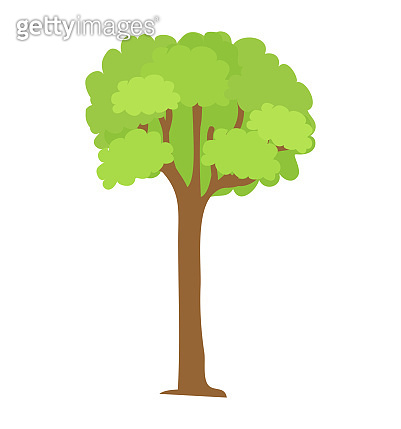 Tree Icon with Green Leaves and Brown Trunk Vector