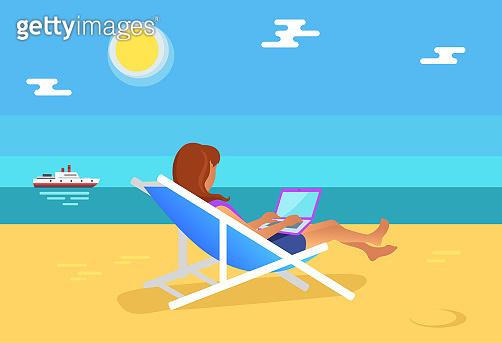 Summer Illustration Freelancer Girl Distant Worker