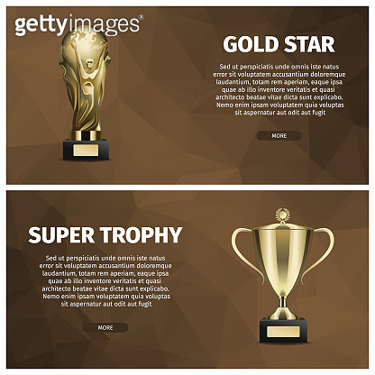 Super Trophy and Gold Star Vector Web Banners