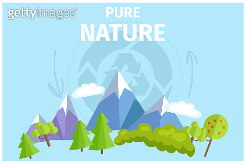 Pure Nature with Green Trees and Snowy Mountains