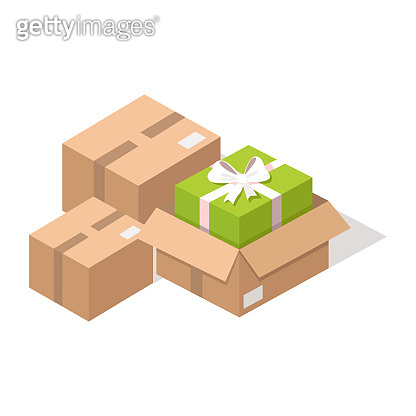 Cardboard post boxes with Presents Illustration
