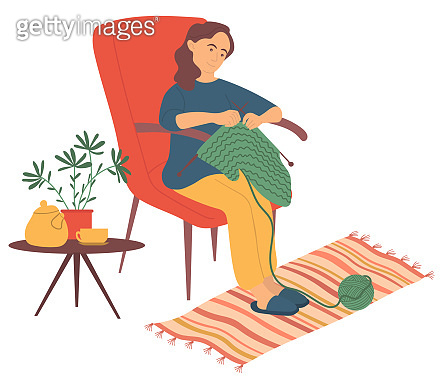 Woman Knitting at Home, Hobby of Female Vector