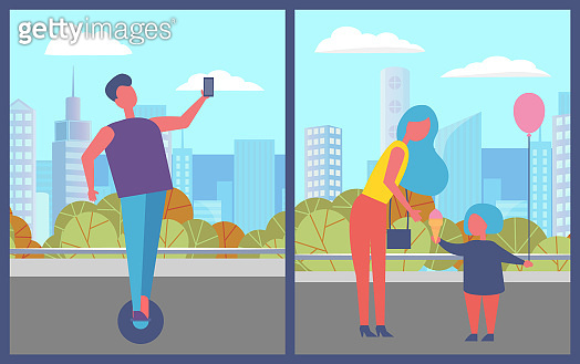 Teenager on Hoverboard, Mother with Kid in City