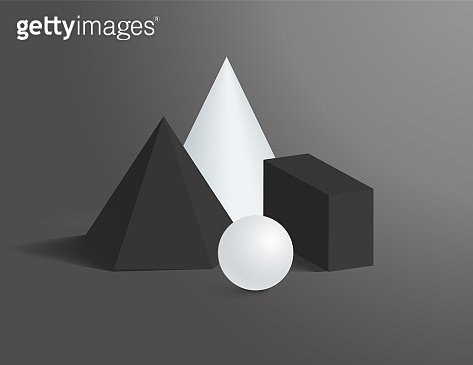 3D Geometrical Shapes of Black and White Colors