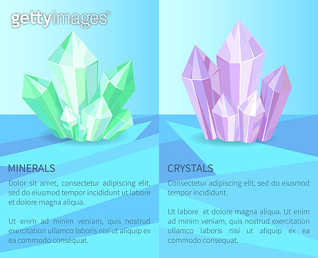Minerals and Crystals Poster Vector Illustration