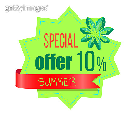 Special Summer Offer Sticker with Palm Leaves