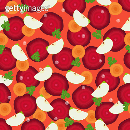 Beet Slices, Cut Round Carrot and Pieces of Apple