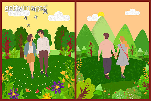 Romantic Day of Couple Walking Outdoor Vector