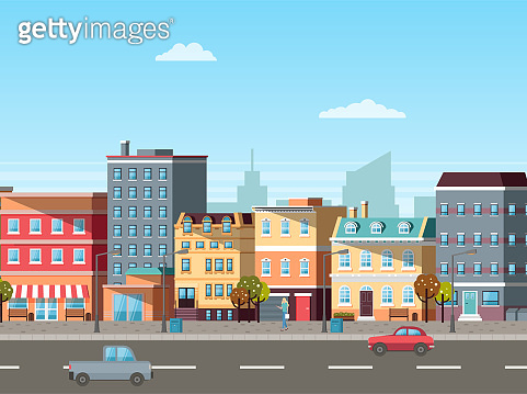 Street with Buildings and Cars on Roads Vector