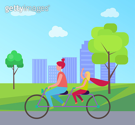 Mother Daughter Riding Bicycle in City Park Vector