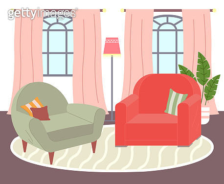 Design of interior living room, two armchairs at carpet, windows with curtains, lamp, plant decor
