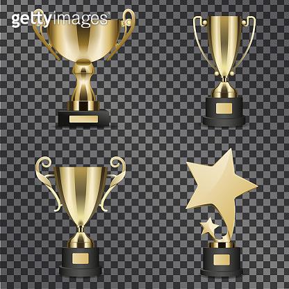 Realistic Golden Trophy Cups Illustrations Set
