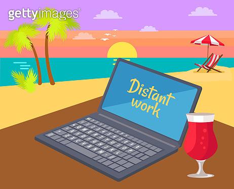 Distant Work Freelance Job Vector Illustration