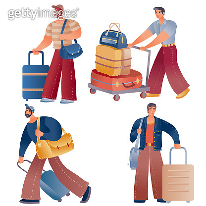 set of men tourists who are standing or walking with suitcases and carrying travel bags in their hands, isolated object on a white background,
