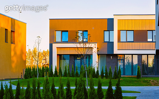 Apartment residential house facade architecture and outdoor facilities reflex