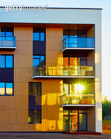 Residential Apartment house facade architecture and outdoor facilities sunlight reflex