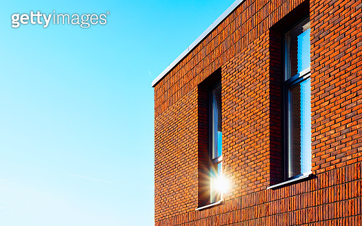Apartment residential townhouse facade and empty place sun light reflex