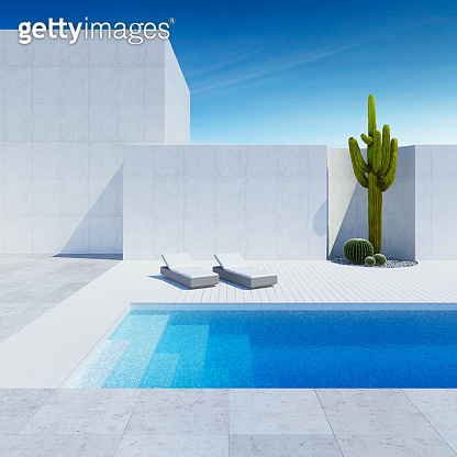 luxury modern backyard with a swimming pool, 3d rendering