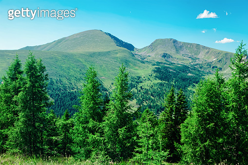 Panoramic view of mountain and blue sky at Bad Kleinkirchheim in Austria