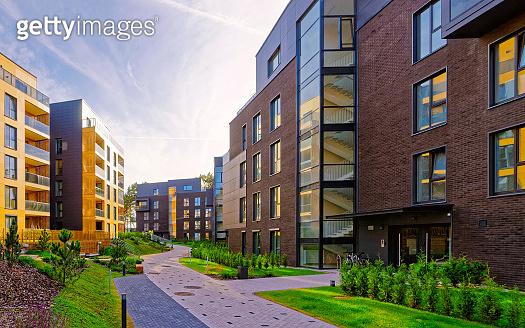 Modern european complex of residential buildings reflex