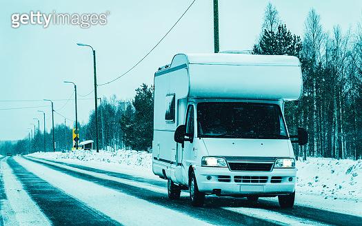 Rovaniemi Caravan RV in road at winter