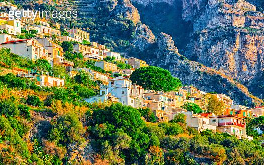 Positano town at Amalfi coast and Tyrrhenian sea reflex